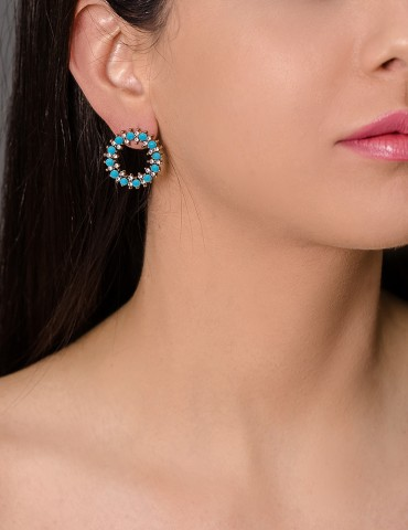 Silver hoops with turquoise