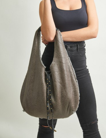 Εrika grey suede bag with faux fair