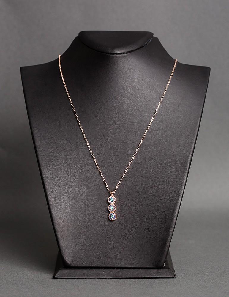 9f4596d3fa Ροζ χρυσό κολιέ αλυσίδα με τριπλό μάτι