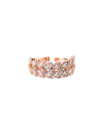 Rose gold ring with small leaves in zircon