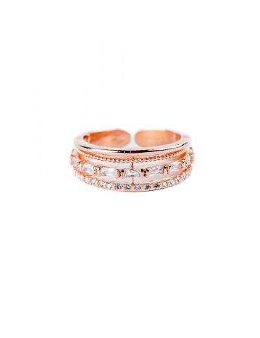 Ροζ χρυσό δαχτυλίδι με βέρες
