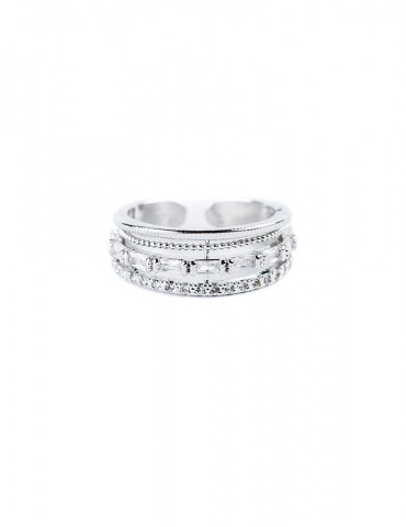 Silver three-bague ring