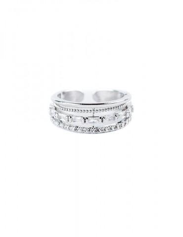Silver three-bague ring