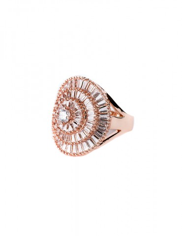 Rose gold ring in roseta...