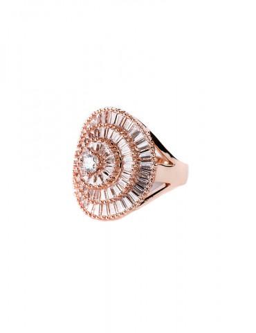Rose gold ring in roseta...