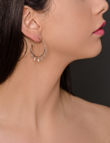 Silver hoop earrings with...