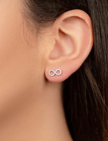 Εternity rose silver earrings
