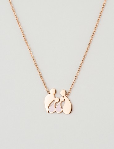 Family rose two girls necklace