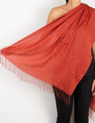Red scarf with white pearls