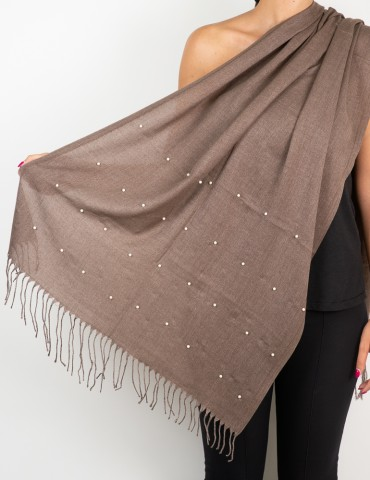 Brown scarf with white pearls