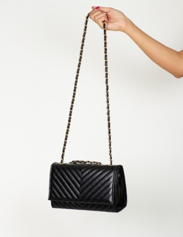 Αmorina black clutch bag