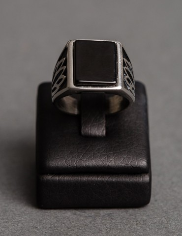 Silver mens ring with black...