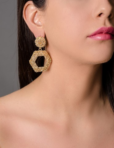 Gold drop hexagon earrings...