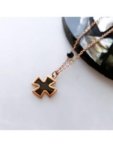 Εlisa black cross necklace