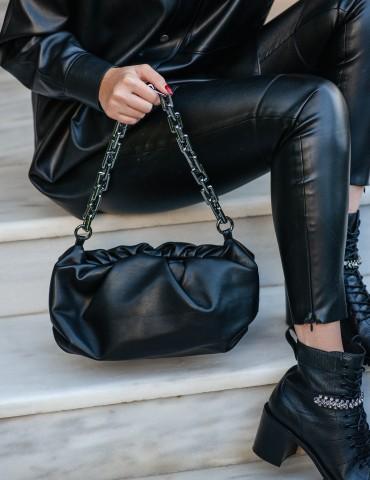 Francesca Black Leather Bag