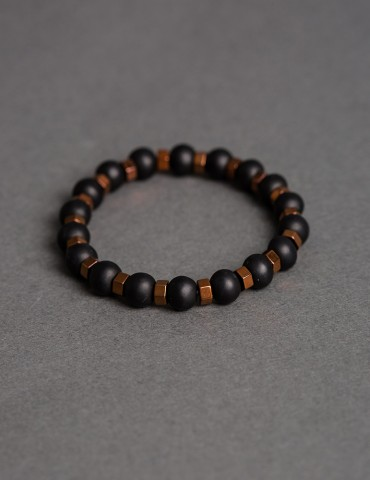 Βlack bracelet with bronze...