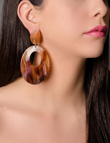Long drop tartaruga earrings