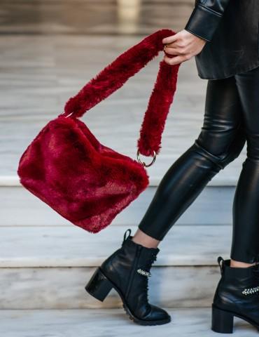 Celia Red Fur Βag