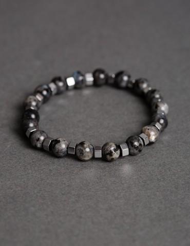 Grey bracelet with silver...