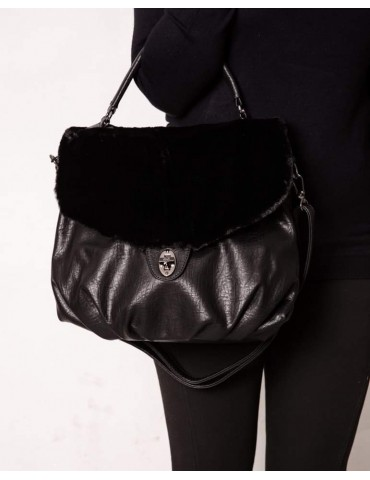 Felicia Black Fur Bag