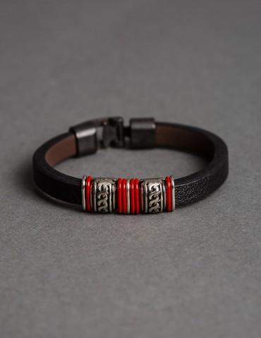 Βlack leather bracelet with...
