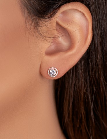 Ροζ ασημένια σκουλαρίκια...