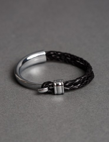 Silver cuff with black leather