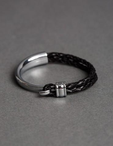 Silvio silver leather cuff