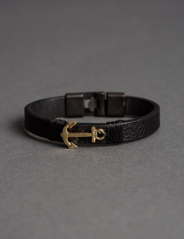Αnchor Gold leather bracelet