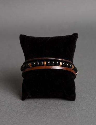 Βlack-brown triple leather...