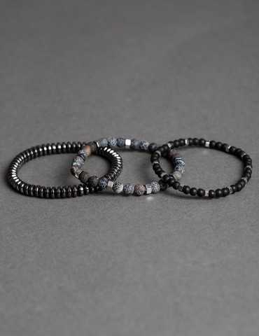 Set of black & grey bracelets