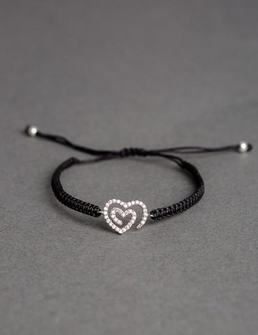 Αmorina black bracelet- silver