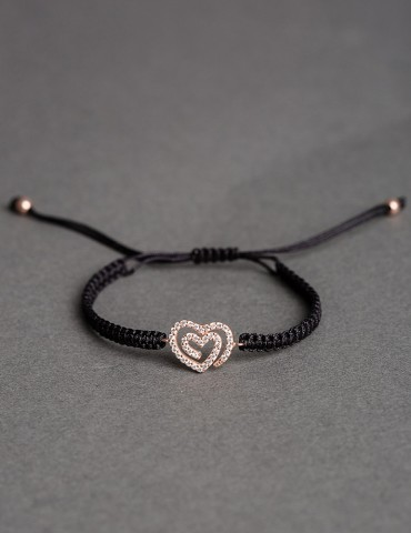 Αmorina black bracelet- rose gold