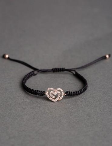 Αmorina black bracelet- rose gold