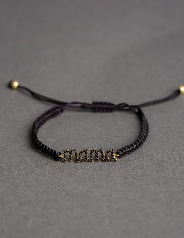 ΒΑdjustable black bracelet mama with zircon