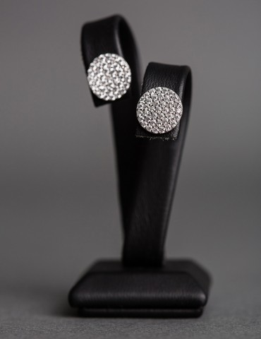 Silver round stud earrings with zircon