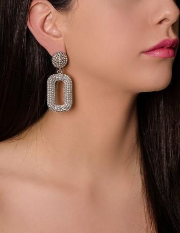 Silver embossed drop earrings