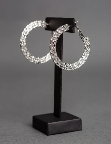 Silver embossed hoop earrings