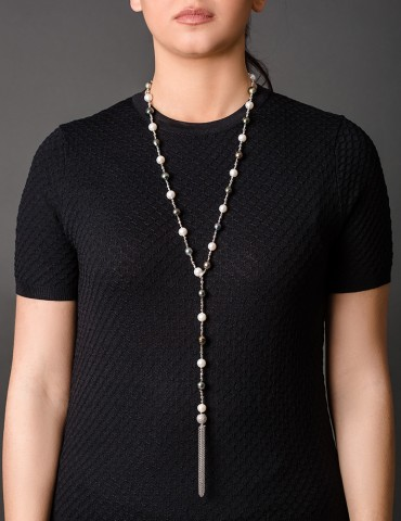 Filomena long tassel necklace with black pearls