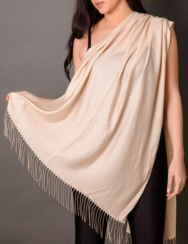Βeige satin shawl with tassels