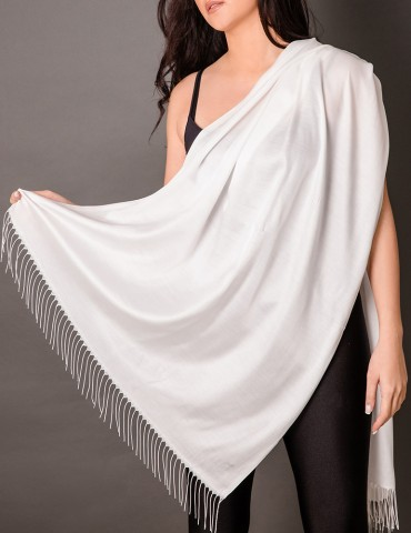 Οff-white satin shawl with...