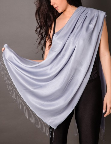 Grey-blue satin shawl with...