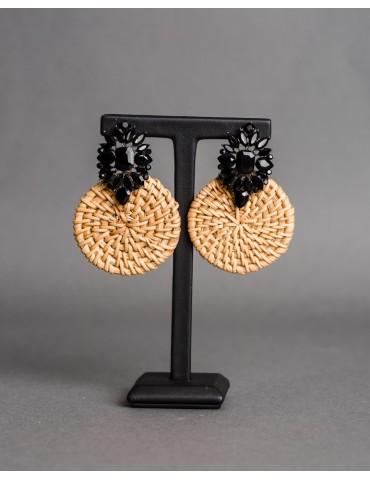Straw earrings with black...