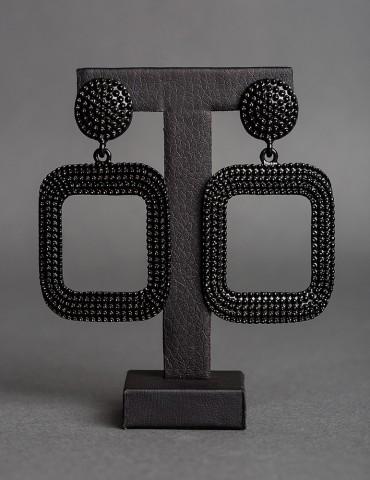 Βlack metallic drop earrings
