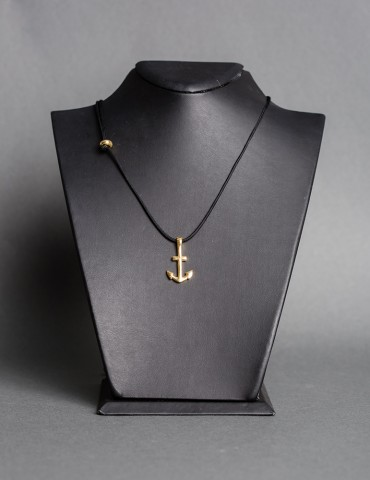 Βlack string necklace with gold anchor