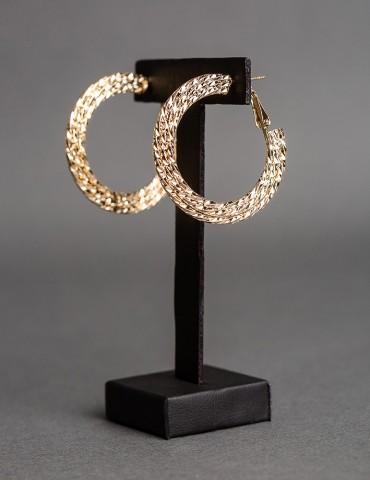 Gold embossed hoop earrings