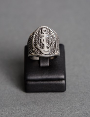 Silver ring with anchor