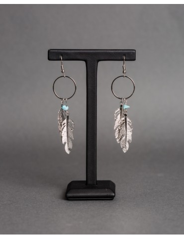 Drop earrings with feathers...