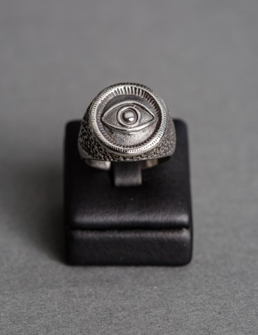 Silver ring with evil eye