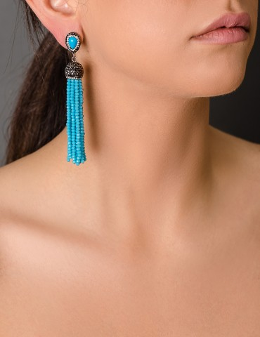 Drop tassel earrings with beads